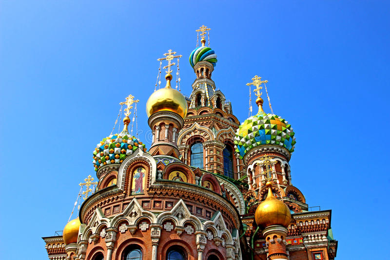 Domkyrka av uppståndelsen på spillt blod i St. Petersbur arkivbilder