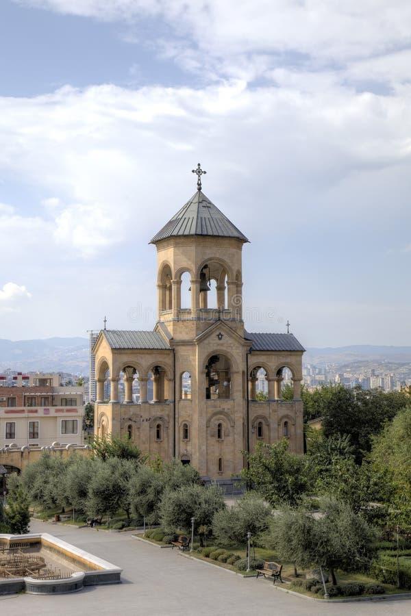 Domkyrka för helig Treenighet (Tsminda Sameba) georgia tbilisi royaltyfri foto