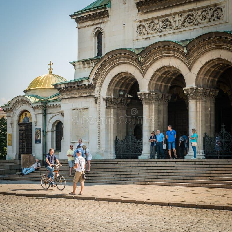 Domkyrka för St Alexander Nevsky i Sofia, Bulgarien fotografering för bildbyråer