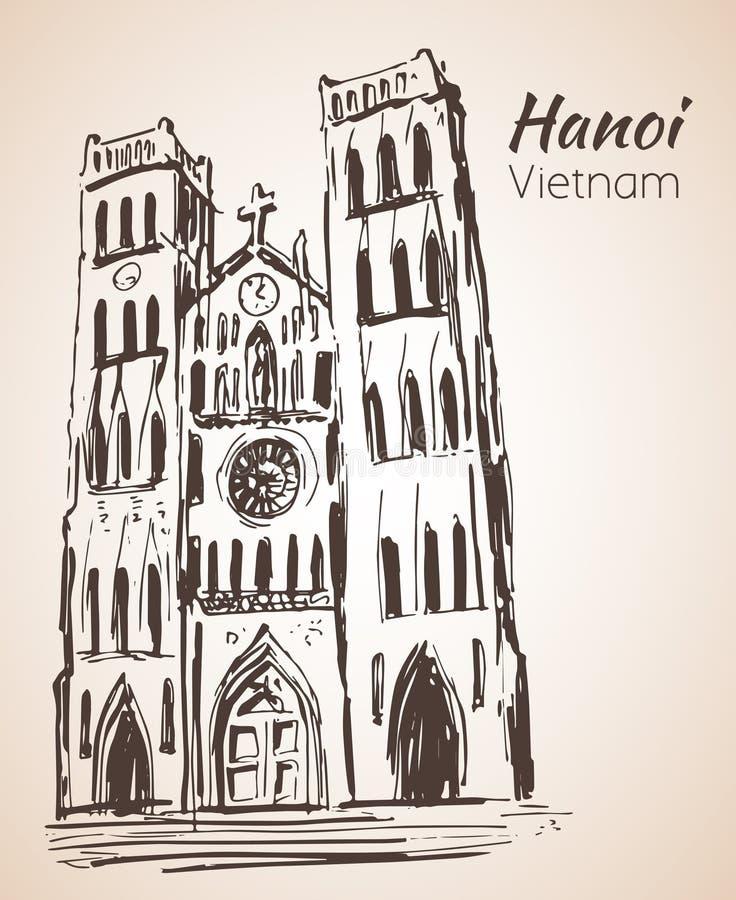 Domkyrka för VIETNAM St Joseph ` s i Hanoi skissa vektor illustrationer