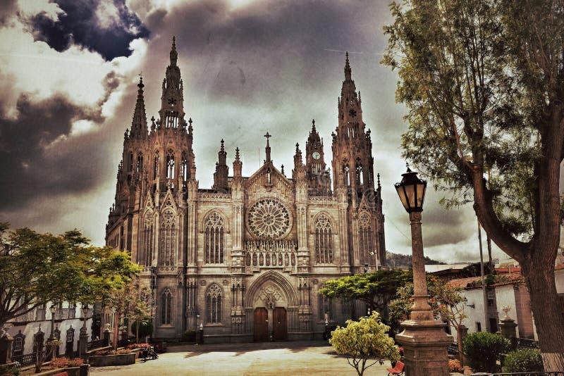 Domkyrka i Arucas, Gran Canaria fotografering för bildbyråer