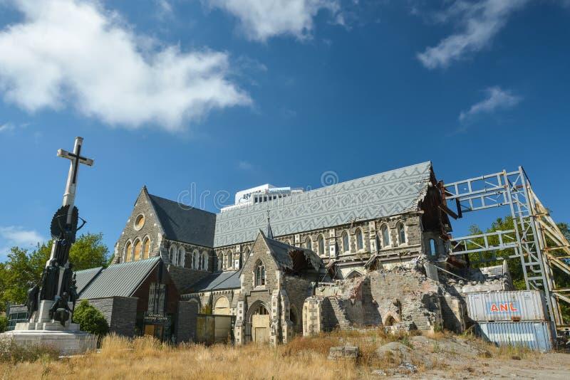Domkyrka i Christchurch, Nya Zeeland som skövlas av den starka jordskalvet fotografering för bildbyråer