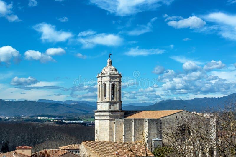 Domkyrka i Girona, Spanien royaltyfria foton