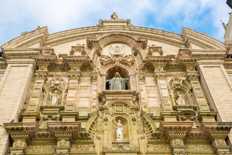 Domkyrka i Lima, Peru. Gammal kyrka i Sydamerika som byggs i 1540. Arequipas Plaza de Armas är en av mest härlig i Peru fotografering för bildbyråer