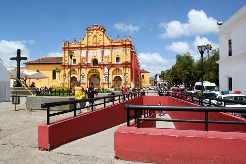 Domkyrka i San Cristobal de Las Casas Mexico arkivfoton