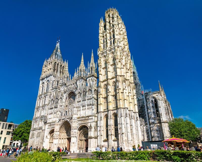 Domkyrka Notre Dame av Rouen i Frankrike arkivfoto