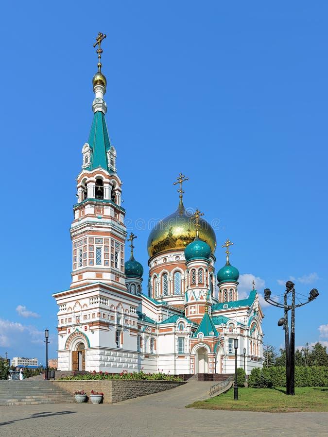 domkyrka omsk uspensky russia royaltyfria bilder