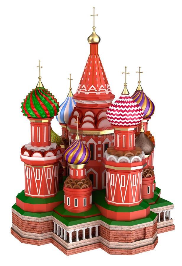 Domkyrka på den röda fyrkanten i Moskva, Ryssland som isoleras stock illustrationer