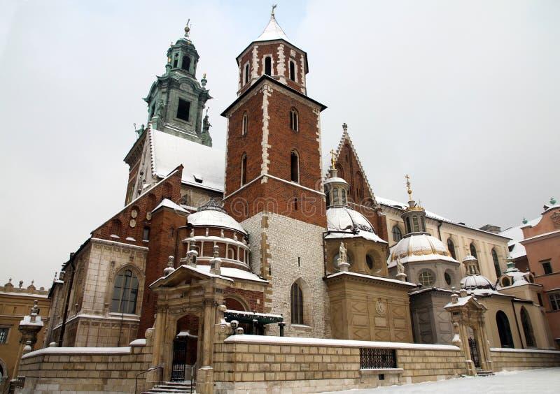 Domkyrka på den Wawel slotten royaltyfria foton