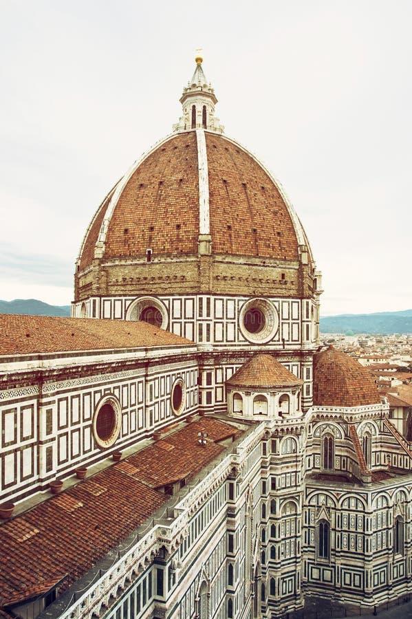 Domkyrka Santa Maria del Fiore, Florence, Italien, retro foto fi arkivfoton