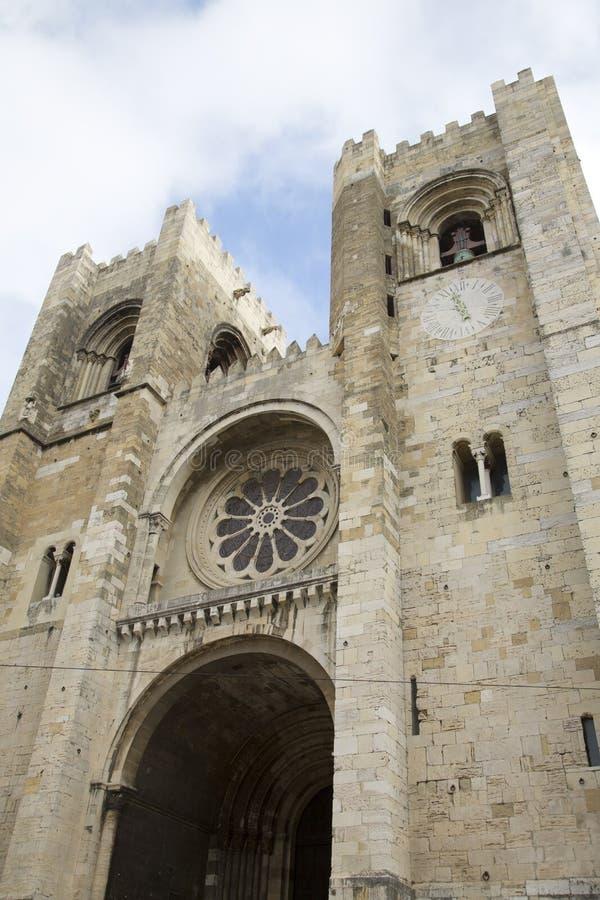 Domkyrkafasad, Lissabon; Portugal royaltyfri bild