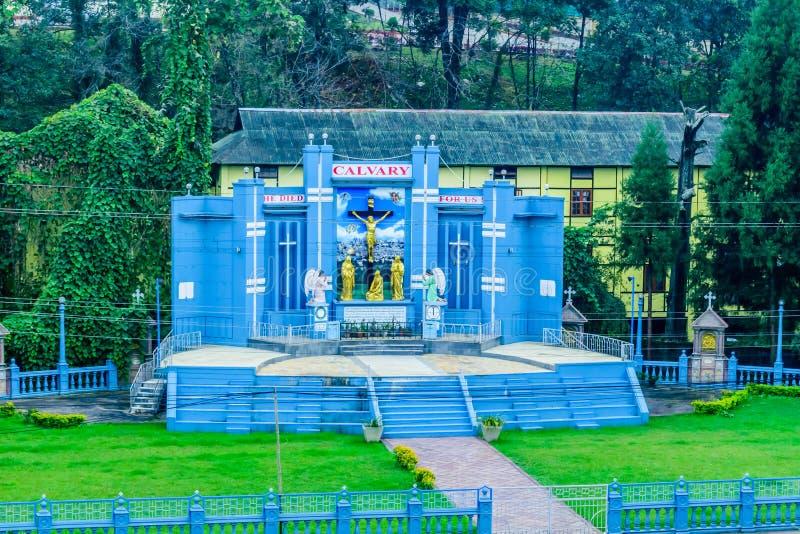 Domkyrkakatolsk kyrka, Shillong Indien 25 December 2018 - domkyrka av Mary Help av kristen som namnges efter modern Mary av royaltyfria foton