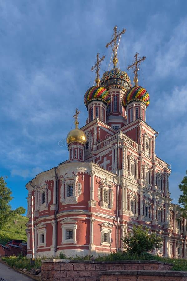 Domkyrkakyrka av den välsignade oskulden Mary Church av Kristi födelsen eller Stroganoven, Nizhny Novgorod, Ryssland royaltyfri foto