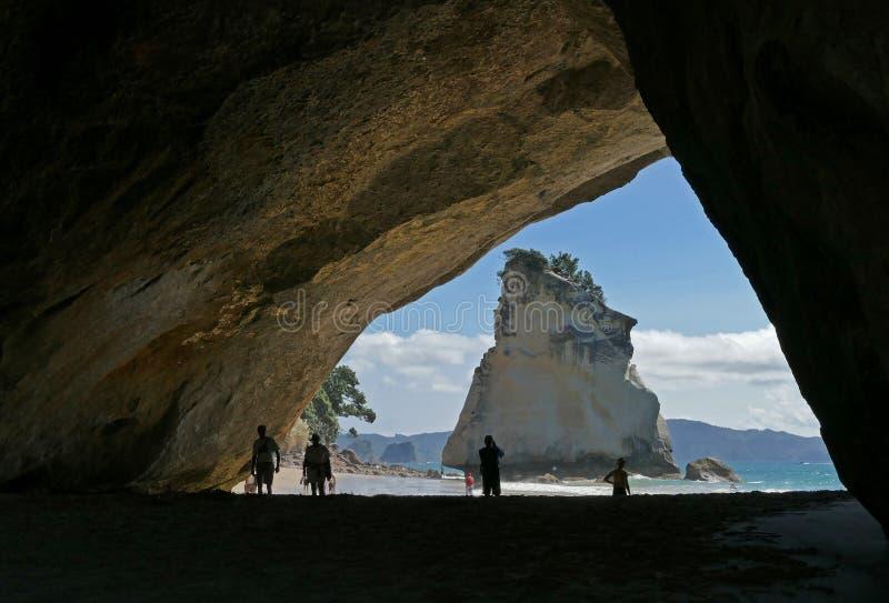 Domkyrkaliten vik en h?rlig strand i Nya Zeeland arkivbild