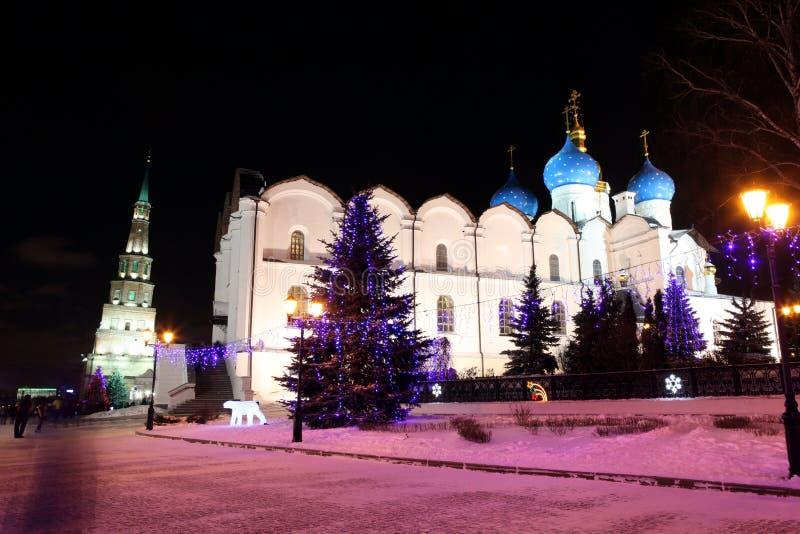 Domkyrkan av förklaringen i den Kazan Kreml - en outstand royaltyfri bild