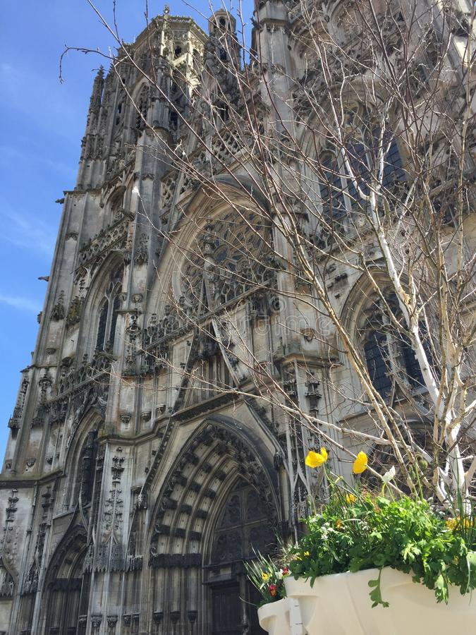 Domkyrkan av Notre Dame av Reims i Frankrike arkivfoto