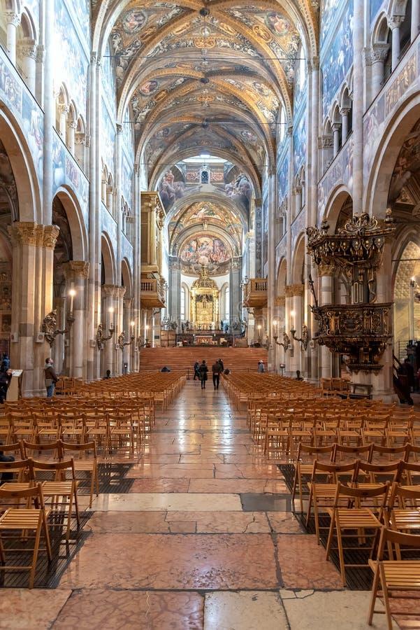 Domkyrkan av Santa Maria Assunta - Parma - Emilia Romagna - Italien royaltyfri bild
