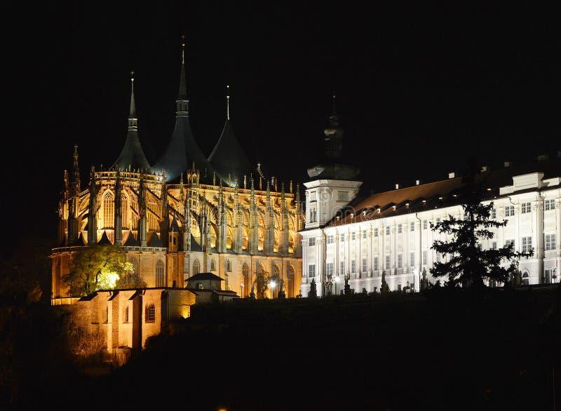 Domkyrkan av St Barbara Church i Kutnà ¡ Hora, Tjeckien royaltyfri bild