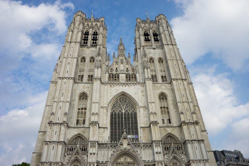 Domkyrkan av St Michael och St Gudula på Bryssel, Belgi fotografering för bildbyråer