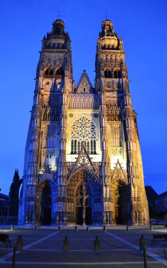 Domkyrkan av Tours, Frankrike arkivfoto