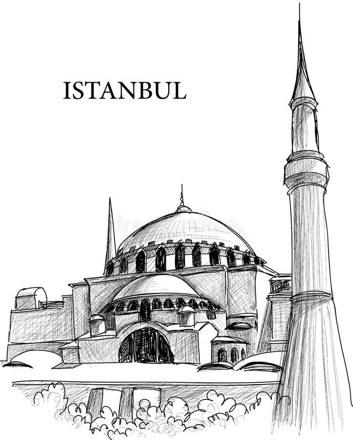 domkyrkan istanbul skissar sophiast stock illustrationer