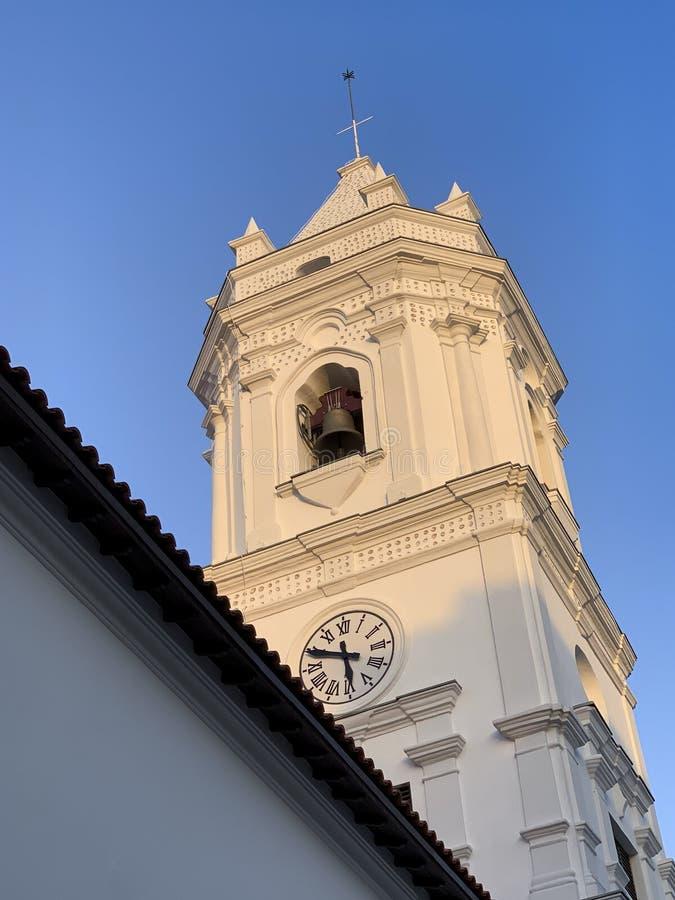 Domkyrkatorn, gammal fjärdedel, Panama City arkivfoton