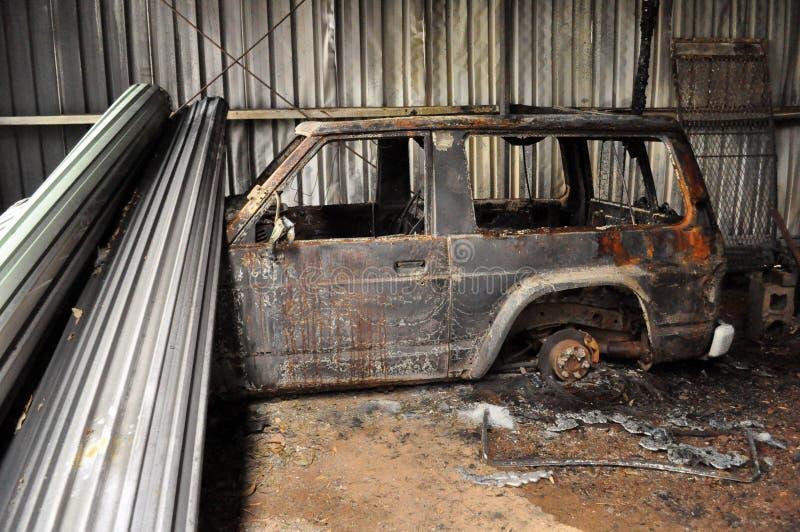 Dommages du feu de brousse photos stock