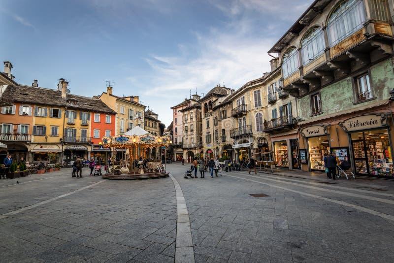 Domodossola, Piazza Mercato. A view of the Piazza Mercato, historic square Domodossola in Italy stock photography