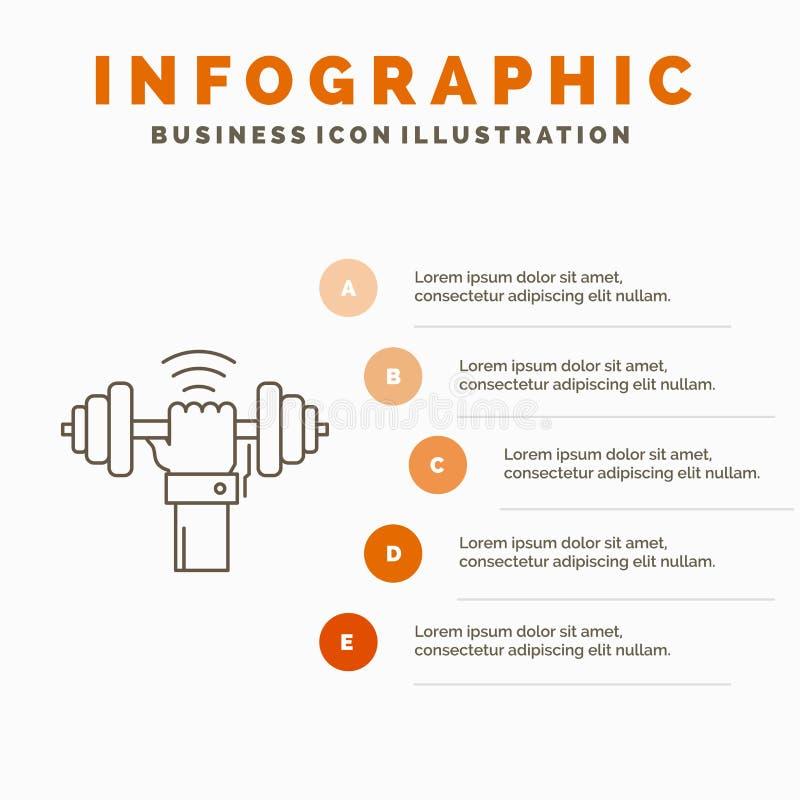 Domoor, aanwinst, het opheffen, macht, het Malplaatje van sportinfographics voor Website en Presentatie r stock illustratie