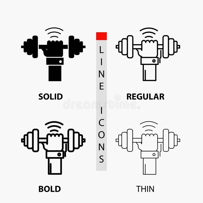 Domoor, aanwinst, het opheffen, macht, sportpictogram in Dunne, Regelmatige, Gewaagde Lijn en Glyph-Stijl Vector illustratie stock illustratie