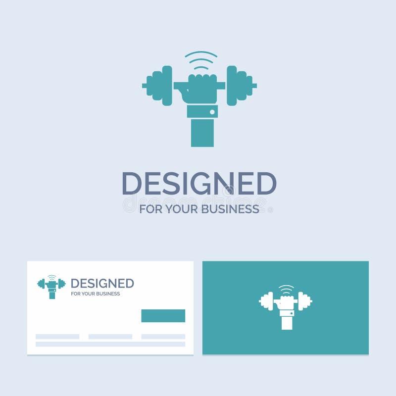 Domoor, aanwinst, het opheffen, macht, sportzaken Logo Glyph Icon Symbol voor uw zaken Turkooise Visitekaartjes met Merkembleem vector illustratie