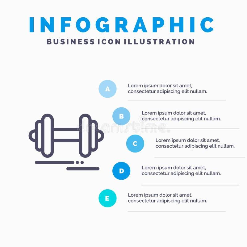 Domoor, Fitness, Sport, het pictogram van de Motivatielijn met infographicsachtergrond van de 5 stappenpresentatie royalty-vrije illustratie