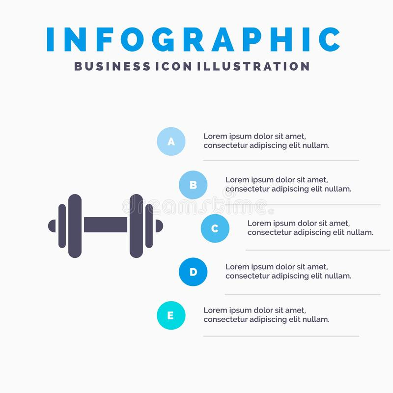 Domoor, Fitness, Sport, Motivatie Stevig Pictogram Infographics 5 de Achtergrond van de Stappenpresentatie stock illustratie