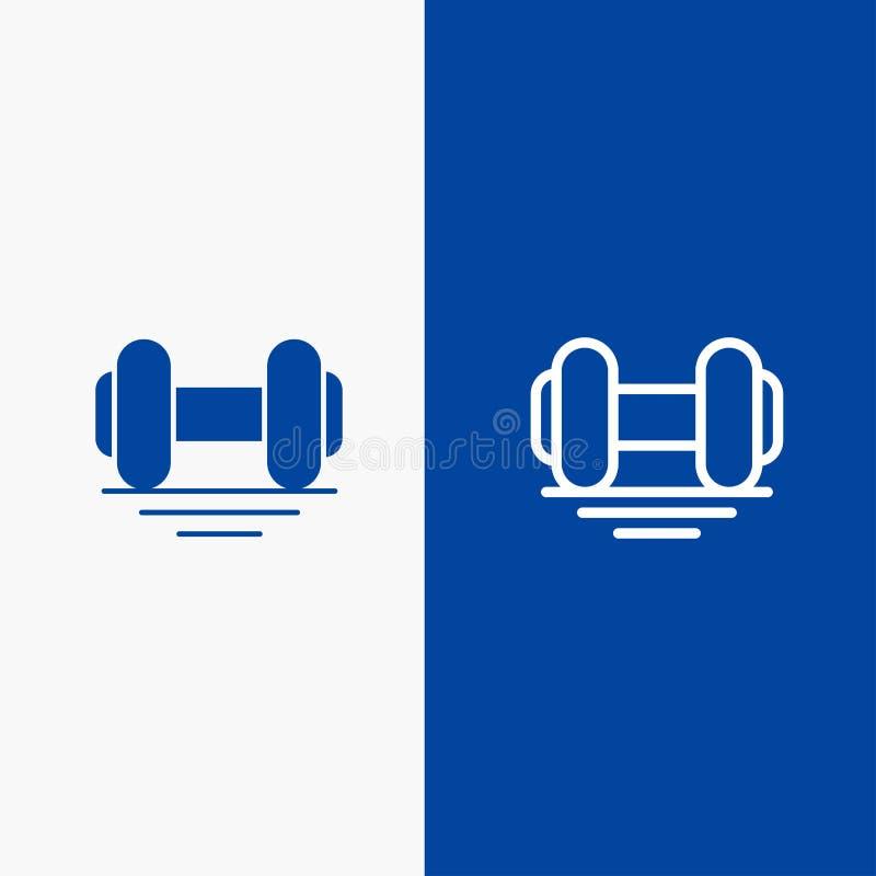 Domoor, Geschiktheid, Gymnastiek, Liftlijn en Lijn van de het pictogram Blauwe banner van Glyph de Stevige en Stevige het pictogr vector illustratie