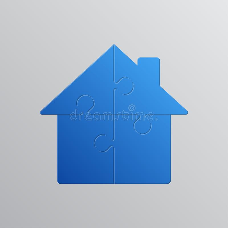 Domowa łamigłówka 4 kawałka Łamigłówki wynajmowanie, leasing ilustracja wektor