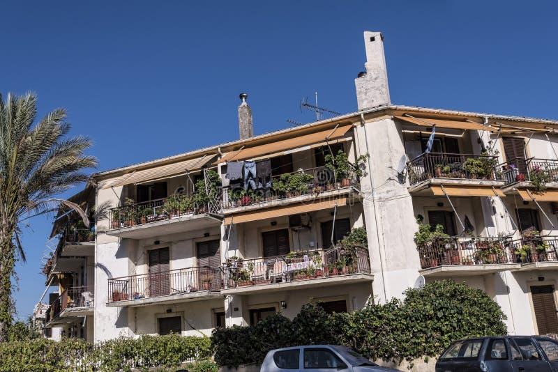 Domowa architektura w starym miasteczku Corfu Grecja obraz stock