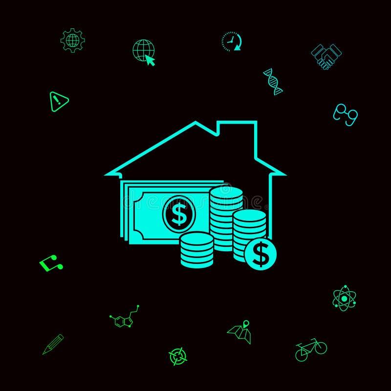 Domowa asekuracyjna ikona Graficzni elementy dla twój designt royalty ilustracja
