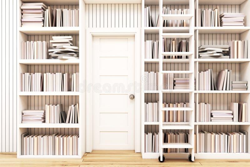 Domowa biblioteka z drabiną royalty ilustracja