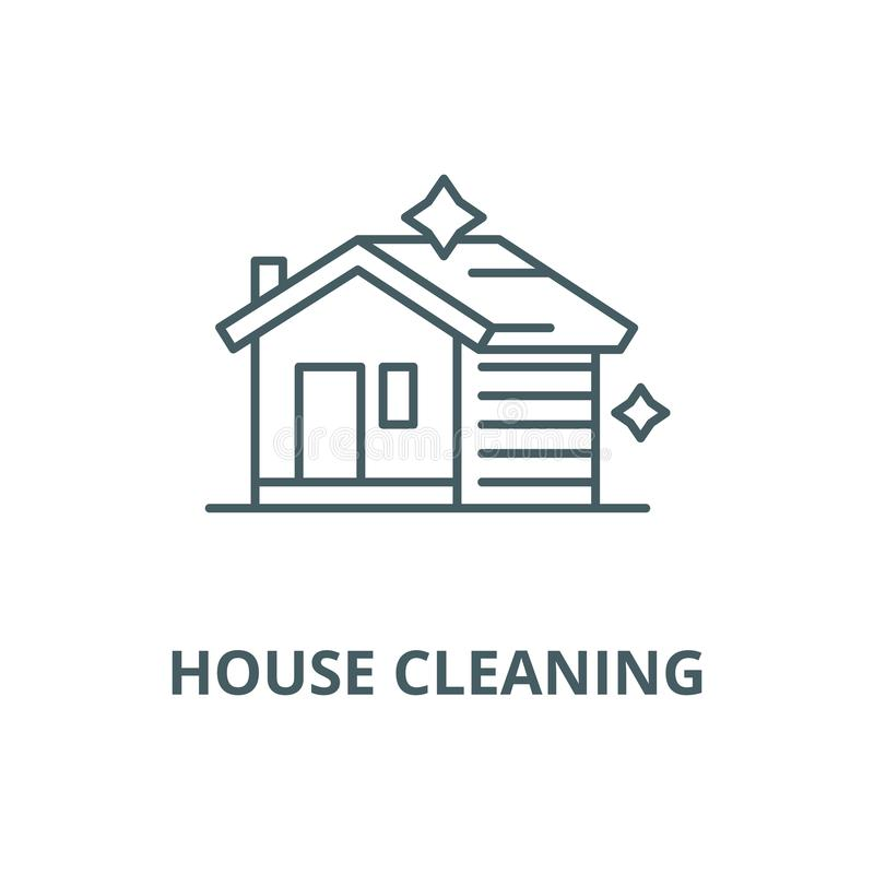 Domowa czyści wektor kreskowa ikona, liniowy pojęcie, konturu znak, symbol royalty ilustracja