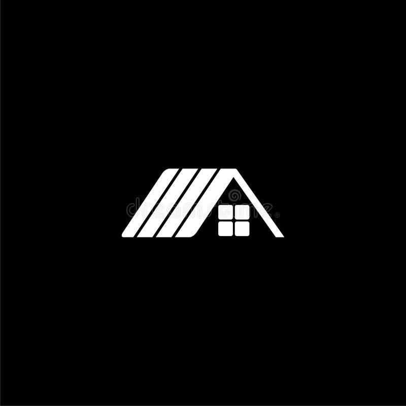 Domowa dachowa ikona, dom ikony Dachowy logo na ciemnym tle ilustracja wektor
