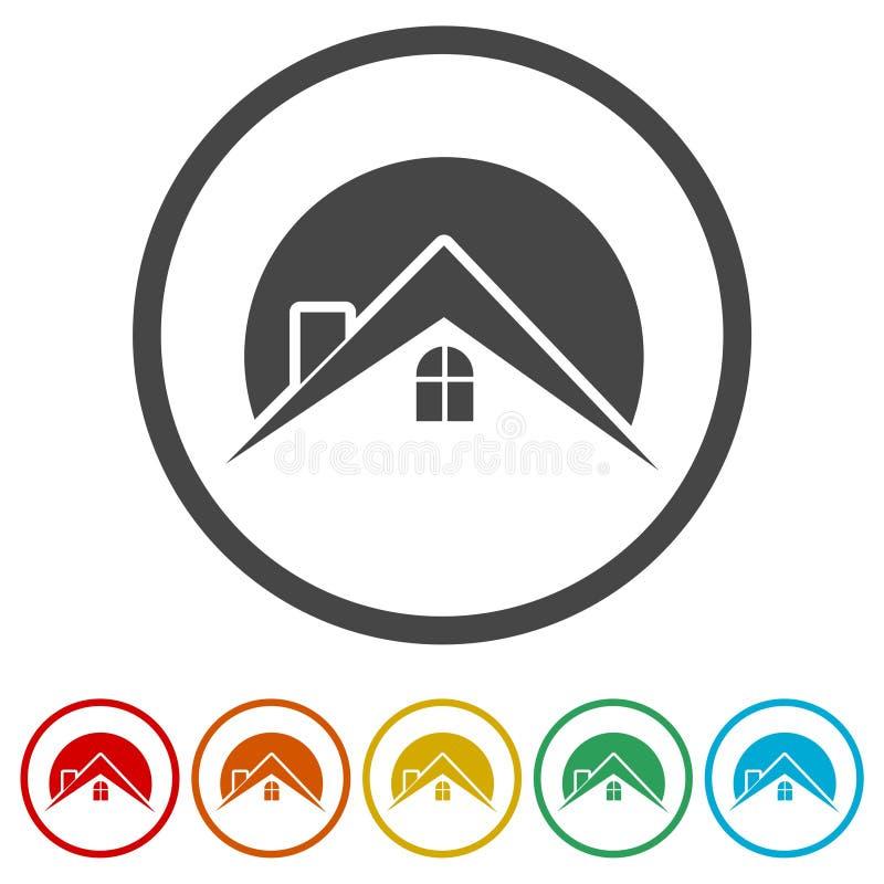 Domowa dachowa ikona, nieruchomość symbol, 6 kolorów Zawierać royalty ilustracja