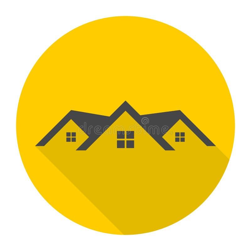 Domowa dachowa ikona z długim cieniem ilustracja wektor