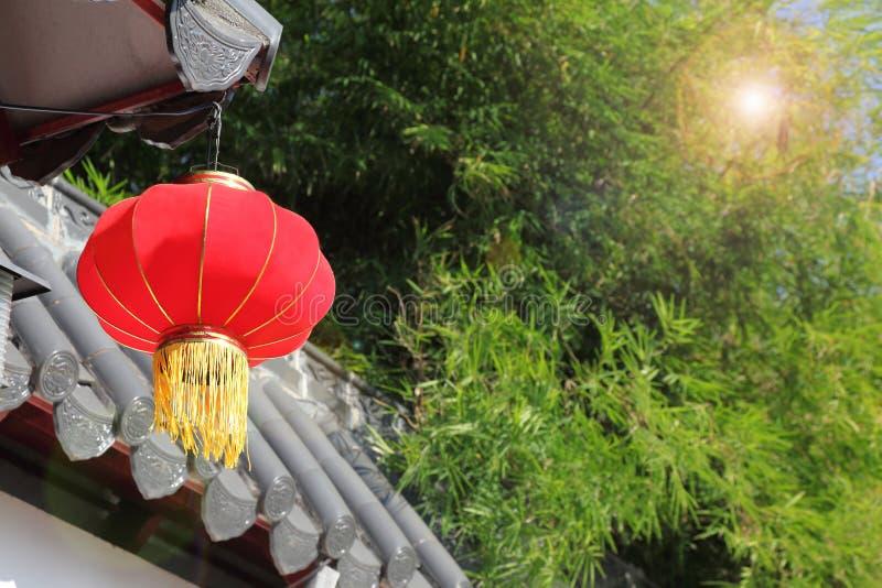 Domowa dekoracja z czerwonym lampionem dla Chińskiego księżycowego nowego roku świętowania, festiwalu z kopii przestrzenią i fotografia stock