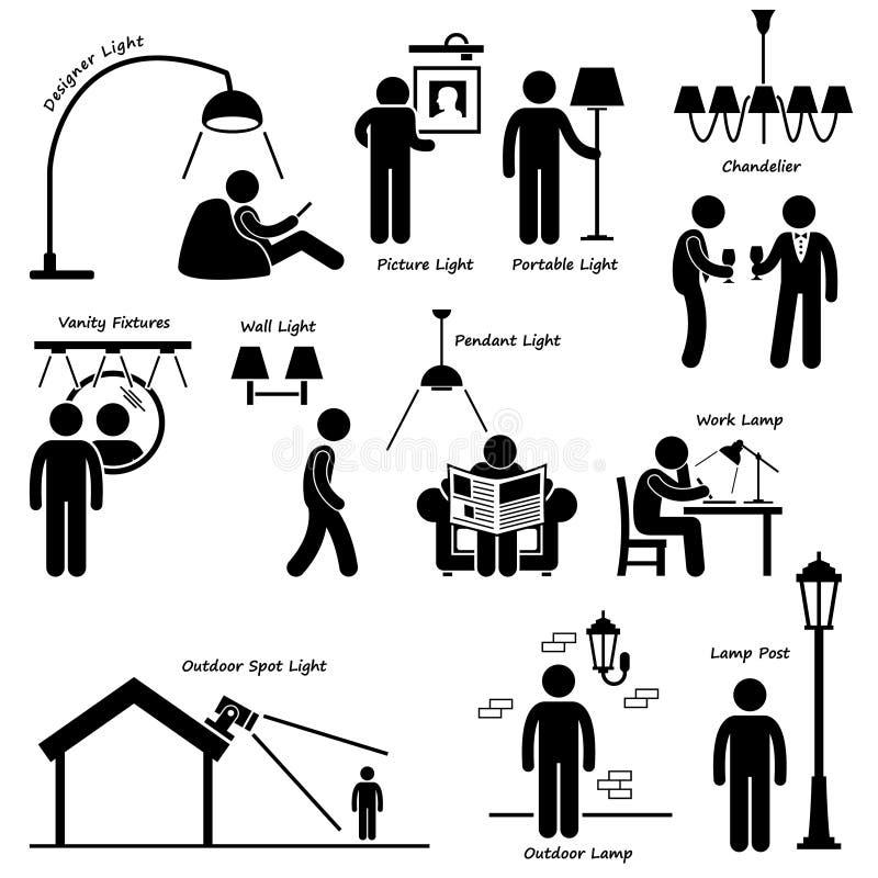 Domowa Domowa Oświetleniowa lampa Projektuje Cliparts royalty ilustracja