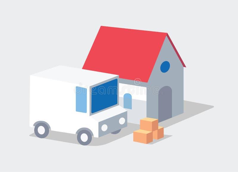 Domowa dostawa Zbawcza dostawa ciężarówką royalty ilustracja
