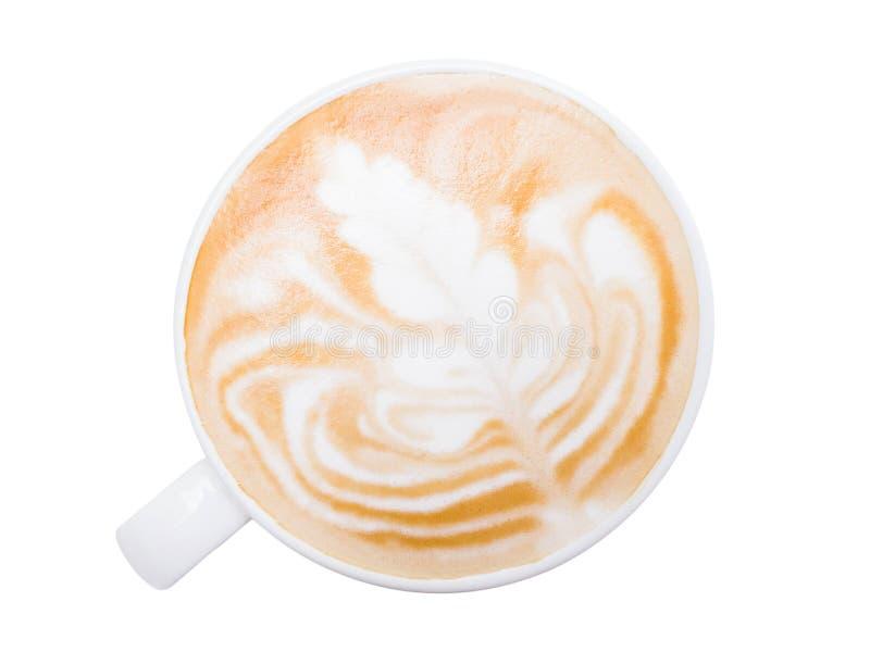 Domowa galaktyka 'GorÄ…cej kawy latte' w filiżance, biaÅ'e tÅ'o zdjęcie stock