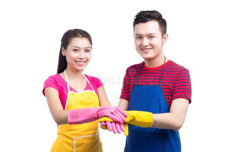Domowa housekeeping usługa drużyna Domowego cleaning azjatykci ludzie obraz royalty free
