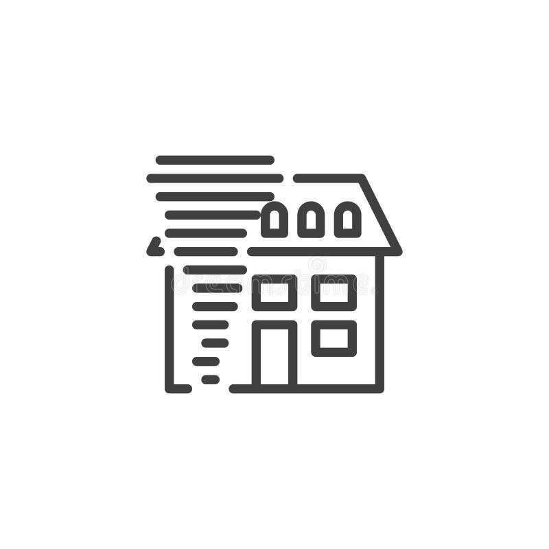 Domowa huraganowa ubezpieczenie linii ikona royalty ilustracja