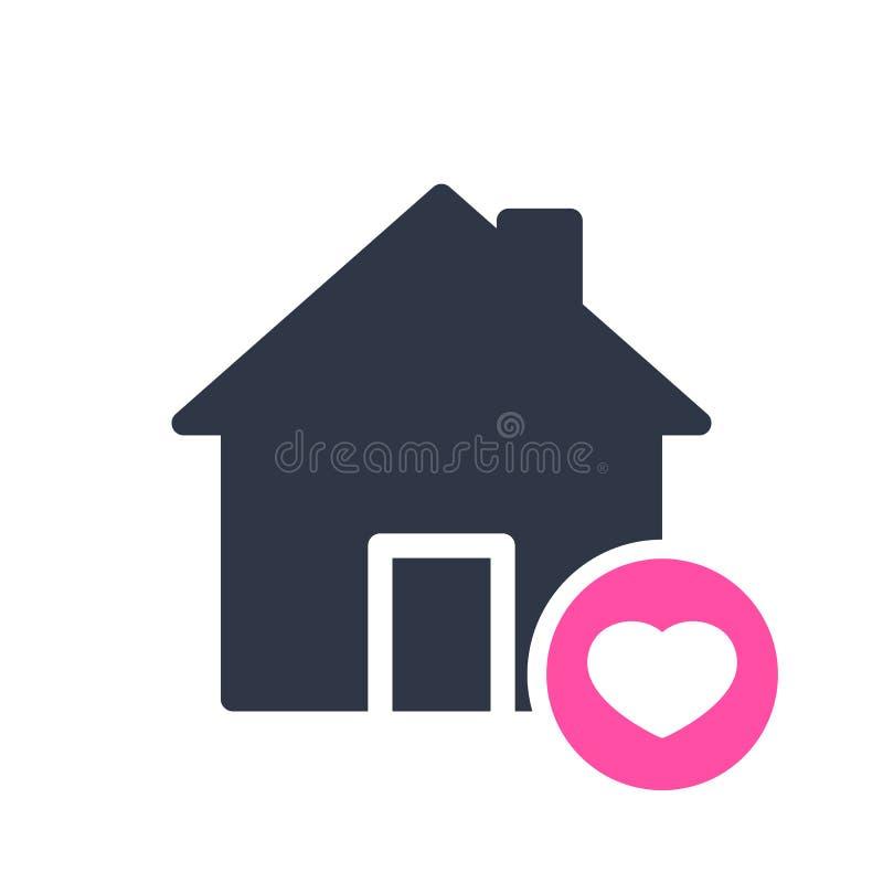 Domowa ikona, budynek ikona z serce znakiem Domowa ikona i faworyt, jak, miłość, opieka symbol royalty ilustracja