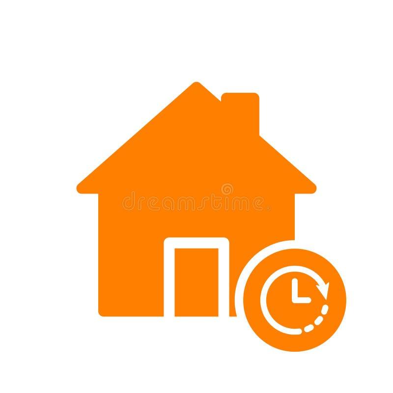 Domowa ikona, budynek ikona z zegaru znakiem Domowa ikona i odliczanie, ostateczny termin, rozkład, planistyczny symbol ilustracji